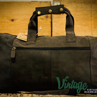 Vintage Handmade Buffalo Leather Rustic Duffle Bag Round 21'' overnight Bag Weekender Bag