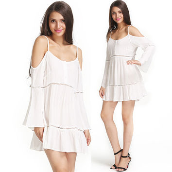 Strap Off-shoulder Chiffon Casual Party Loose Shift Dress