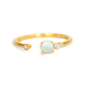Opal and Diamond Allure Ring