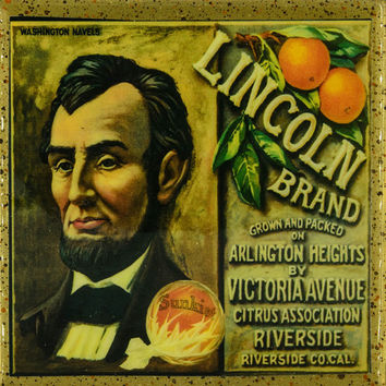 Lincoln Brand - Vintage Citrus Crate Label - Handmade Recycled Tile Coaster