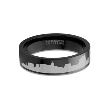 Saint Paul City Skyline Cityscape Engraved Black Tungsten Ring