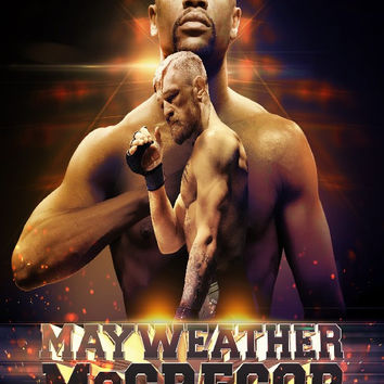 FLOYD MAYWEATHER VS CONOR MCGREGOR Boxing Match Sports door Decor posters art silk Fabric Poster
