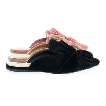 Series04M Black By Bamboo, Women's Flat Slip On Slipper Backless Loafer w Pointed Toe & Ruffle Bow