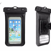 ELEGIANT IPX8 Waterproof 3.5 inches -4.5 inches Phone Case Bag Cover with Bicycle Holder Carabiner Armlet