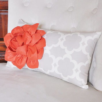 Lumbar Pillow Coral Dahlia on Neutral Gray Tarika Lumbar Pillow 9 x 16