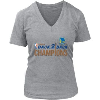 Golden State Warriors Womens V-Neck Shirt 2018 NBA Back 2 Back Champions (8 Colors)