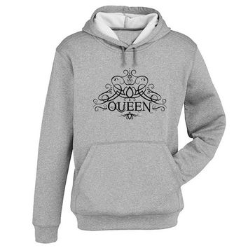 queen logo Hoodie Sweatshirt Sweater Shirt Gray and beauty variant color for Unisex size