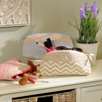 Burlap Monogram Cosmetic Bag | Kirklands