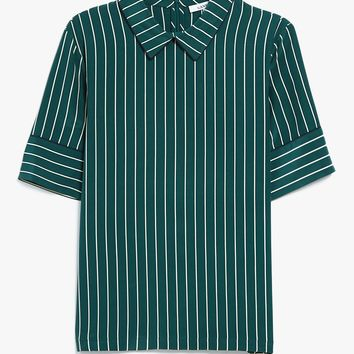 Ganni / Elmira Silk Top in Pine Grove Stripe