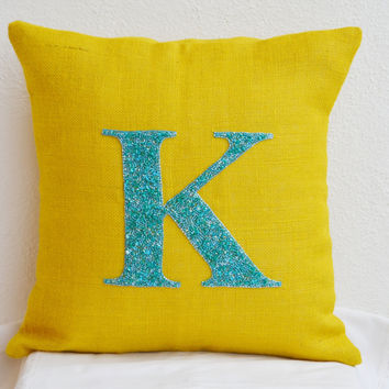 Personalized pillows- Teal Aqua Monogrammed pillows- Outdoor burlap pillows - Burlap pillow cover - 16 X16 pillow