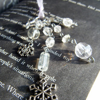 Icy Snowflake Bookmark Clear Glass Beaded Book Thong