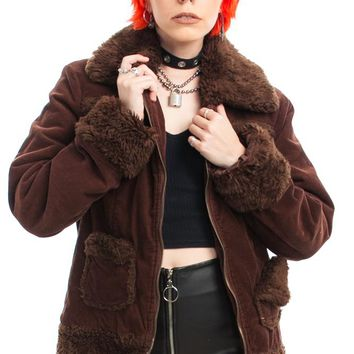Vintage Y2K Chocolate Corduroy Faux Fur Trim Jacket - One Size Fits Many
