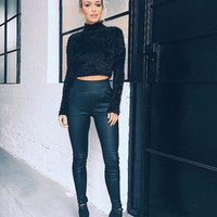 Tamaran Lurex Short Crop Top Sweater