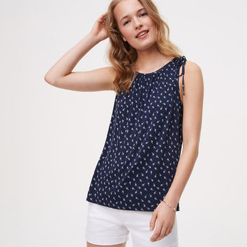 Petaled Tie Shoulder Top | LOFT