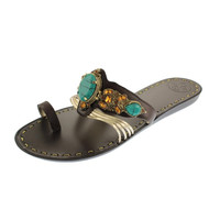 BCBGeneration Womens Jam Leather Embellished Thong Sandals