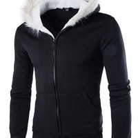 jeansian Casual Men's Fur-Collar Hoodie Sweatshirt Coat Outwear Tops 9349