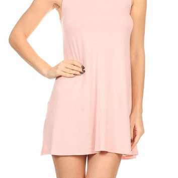Casual Mock Neck Sleeveless Tank Top Tunic Flare Swing Mini Day Dress