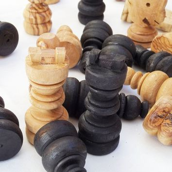 Olive wood hand carved large chess pieces, wooden rustic natural black chess boa
