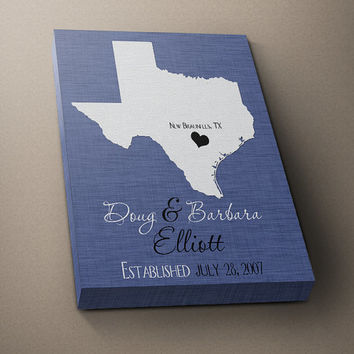 STATE Print, Texas Family Wall Art, Print Any State Custom Wedding Gift, Couples Name Est Date Anniversary Shower Gift PRINT or CANVAS