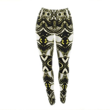 "Dawid Roc ""The Palace Walls II"" Yellow Black Yoga Leggings"