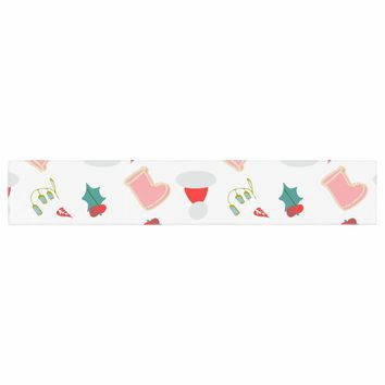 """bruxamagica """"Santa´s Hat And Boots"""" White Multicolor Holiday Pattern Illustration Table Runner"""