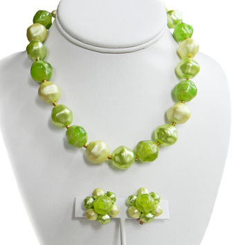 Lime Green Bead Necklace Earring Set Hong Kong