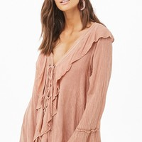 Flounce Lace-Up Top