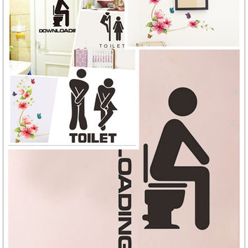New Style Flower Butterfly Monster Wall Paper Decals Removable adesivo de parede Wall Sticker Home Toilet decoration