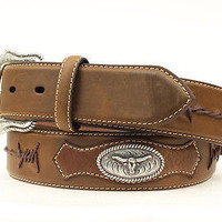 Nocona Men's Western Longhorn Concho Barbed Lace Leather Belt-Brown