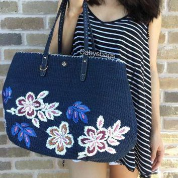 NWT Tory Burch Kerrington Straw Tote woven Floral Navy Blue Large Handbag $395