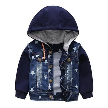9M-4T Baby Boys Jeans Coat Spring Autumn Infant Denim Hooded Stars Printed Jacket Kids Outerwear Babe Clothing Boy Clothes