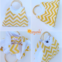 Tote Bag, Yellow Beach Comber Bag, Yellow Chevron, Expandable Hand Bag, Carryall Purse, Beach, Diaper Bag, Carryall, Rucksack,