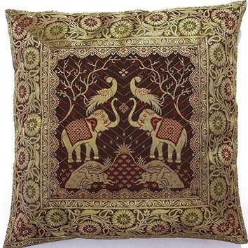 """Decorative Square Cushion Pillow Cover (from India) Brocade Silk 16""""x16"""" - Brown"""