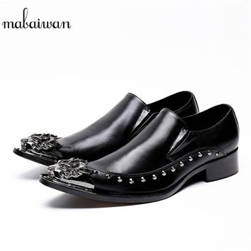 Mabaiwan 2018 Men Casual Shoes Leather Wedding Dress Shoes Men Flats Slip On Rivets Espadrilles Customized Shoes Plus Size 37-46