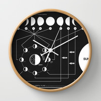 Phases of the Moon infographic Wall Clock by Nick Wiinikka