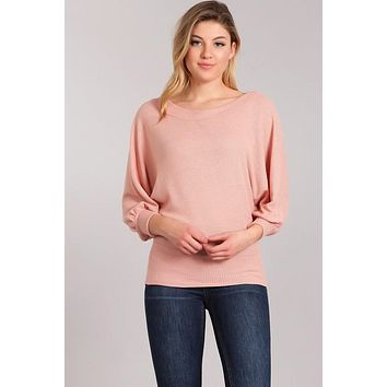 Boat Neck Top with Bubble Sleeves - Mauve