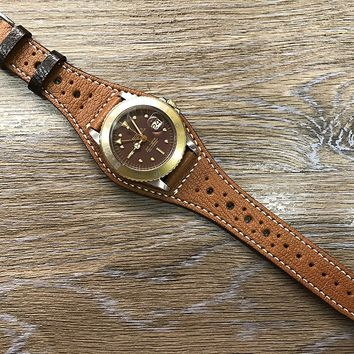 Full bund Strap, Handmade Real Leather cuff strap, Brogue Pattern, Leather Cuff watch band, Cuff Band, Bespoke style, Vintage brown Leather Cuff watch Strap for all Rolex, IWC in 20mm lug