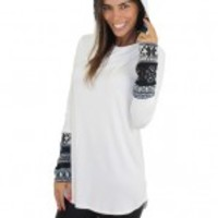Ivory Hooded Top With Printed Sleeves