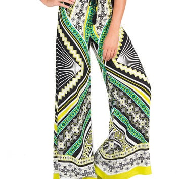 Mirrored Print Wide Legged Pants - Large