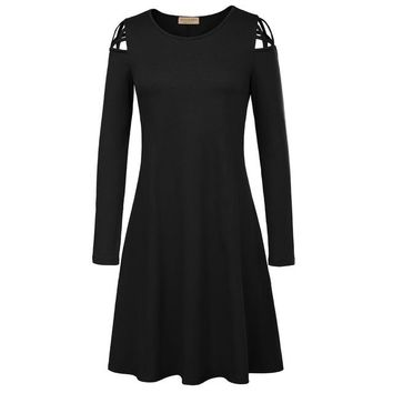 Kate Kasin Vintage Autumn Punk Dress Femme Women Solid Color Casual Long Sleeve O Neck Hollowed Shoulders A-Line Gothic Dresses