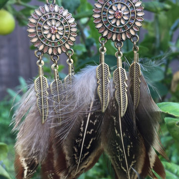 Natural Feather Earrings #H1013