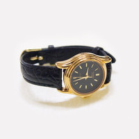 Women's Casio Black & Gold Watch ~ with black leather strap