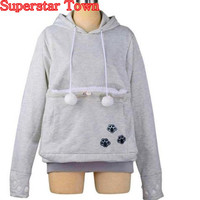 Cat Lovers Hoodies With Cat Cuddle Pouch Mewgaroo Nyangaroo Dog Pet Hoodies For Casual Kangaroo Hoodies With Ears Sweatshirt 3XL