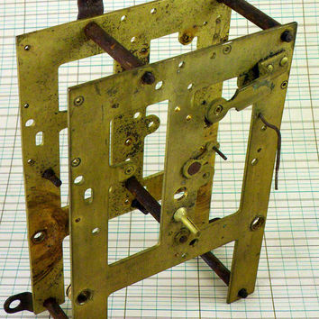 Vintage Clock Front and Back Movement Plates Assembly Old Tarnished Steampunk Parts