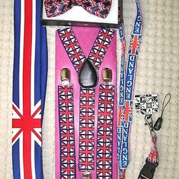UK British Flag Y-Back Suspenders,UK Lanyard,UK Neck Tie & UK British Bow Tie-25