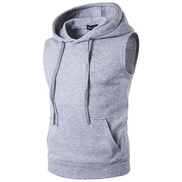 2017 Men's Fashion Fleece Plain Fit Hooded Sleeveless Vest hoodies