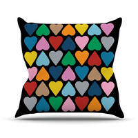 "Project M ""Up and Down Hearts on Black"" Throw Pillow"