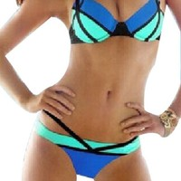 Sexy Women Halter Bandage Padded Push-up Bikini Swimsuit Bathing Swimwear(Blue+Green Lable M)