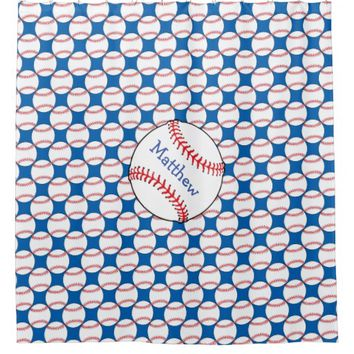 Patriotic Baseball Red, White, Blue Shower Curtain