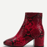 Women'S Red Snakeskin Pattern Block Heeled Ankle Boots